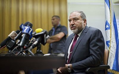 Foreign Minister Avigdor Liberman speaks during a press conference in the Knesset on July 15, 2014. (Photo credit: Yonatan Sindel/Flash90)