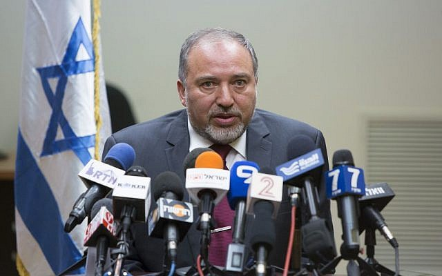 Foreign Minister Avigdor Liberman speaks during a press conference in the Knesset on Tuesday, July 15, 2014 (photo credit: Yonatan Sindel/Flash90)