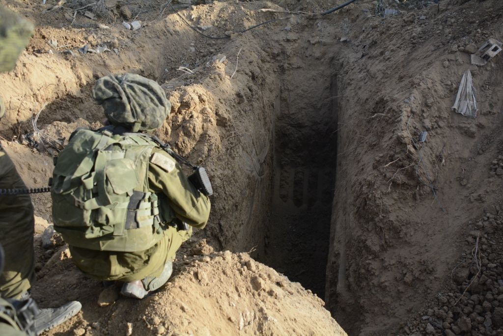 A picture released by the Israeli Defense shows Israeli tunnels discovered by soldiers from the Paratroopers Brigade in the Northern Gaza Strip on July 18, 2014. (photo credit: IDF Spokesperson/Flash90)