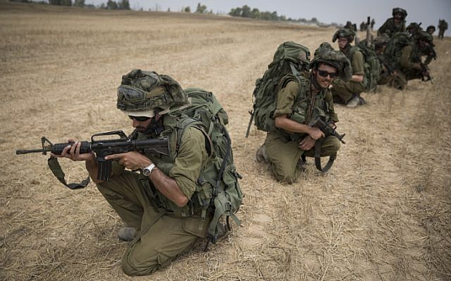 Illustrative photo of IDF soldiers conducting training in a field near the border with Gaza in southern Israel, on July 22, 2014. (Hadas Parush/Flash90)
