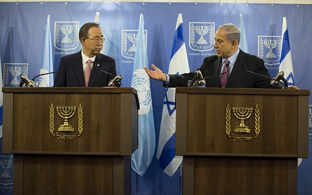 Benjamin Netanyahu, right, speaking to Ban Ki-moon in Tel Aviv on Tuesday, July 22, 2014. (photo credit: Yonatan Sindel/Flash90)