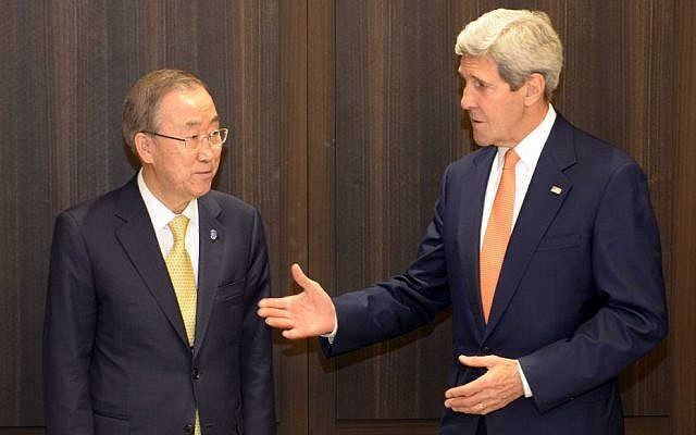 US Secretary of State John Kerry, with UN Secretary General Ban Ki-moon, at the David Citadel Hotel, Jerusalem, July 23, 2014. (Photo credit: Matty Stern/US Embassy Tel Aviv/Flash90)