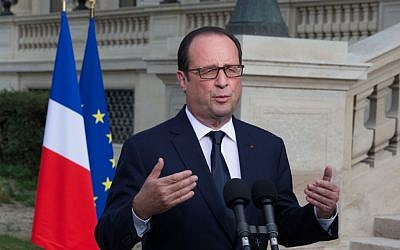 French President Francois Hollande (photo credit: AP/Philippe Wojazer, Pool)