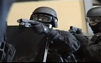 Members of the French special operations police RAID unit. (screen capture: YouTube/boxer2107)French RAID