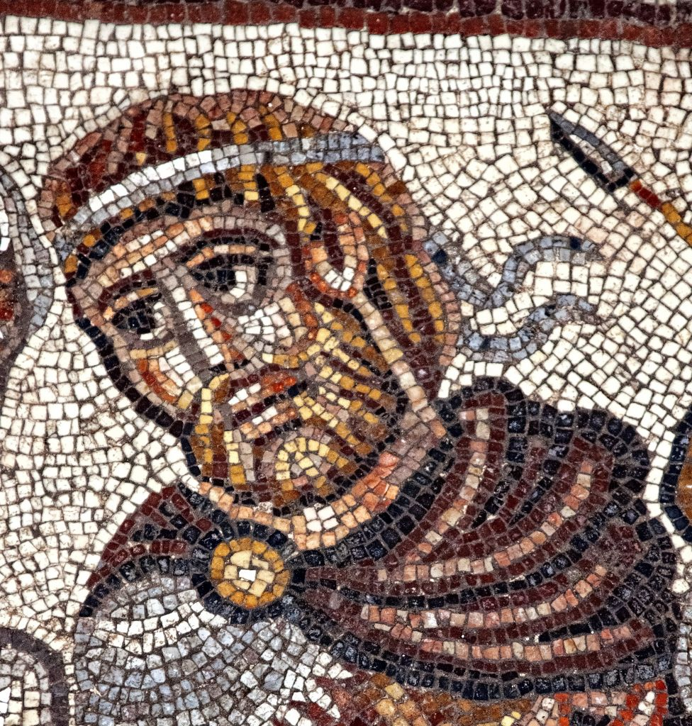 Detail of the head of a Greek military ruler in the Huqoq synagogue's 5th century mosaic. (photo credit: Jim Haberman)