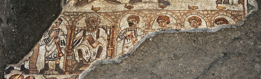 Detail of the Huqoq synagogue's 5th century mosaic, showing the white-bearded elder. (photo credit: Jim Haberman)