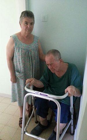 Larissa Litvak and her husband in their Beersheba home (photo credit: Courtesy)