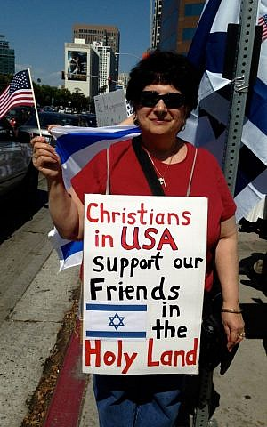 Christian supporters of Israel joined the rally marred by violence in Los Angeles, July 13, 2014. (Kelly Hartog/The Times of Israel)