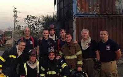 The latest group of American volunteer firefighters to arrive in Israel, battling fires down south (Courtesy Emergency Volunteers Project)