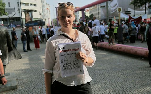 Svenja, 20, is a self-described Trotskyist. She opposes the Jewish state, but is hesitant about attending the Al Quds Day March on July 25, 2014 in Berlin. (Micki Weinberg/The Times of Israel)
