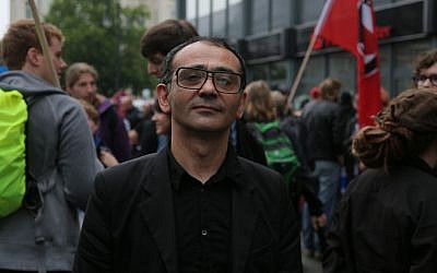 Green Party of Iran member, Kazem Moussavi at pro-Israel antifa demo in Berlin, July 25, 2014. (Photo credit: Micki Weinberg)