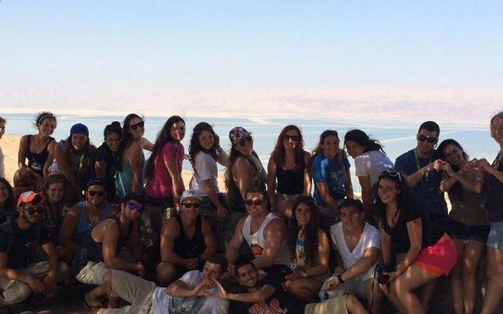 Lila Faria's Taglit-Birthright group, seen here at the Dead Sea. (courtesy Deborah Gaines)