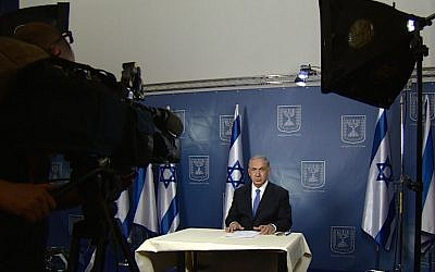 Prime Minister Benjamin Netanyahu during televised interviews with US news networks on July 13, 2014. (photo credit: GPO)