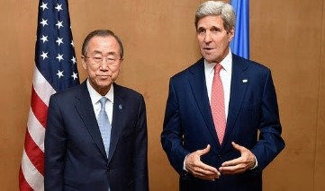 UN Secretary-General Ban Ki-moon and US Secretary of State John Kerry address reporters on the Gaza situation, July 21, 2014 (photo credit: US Department of State)