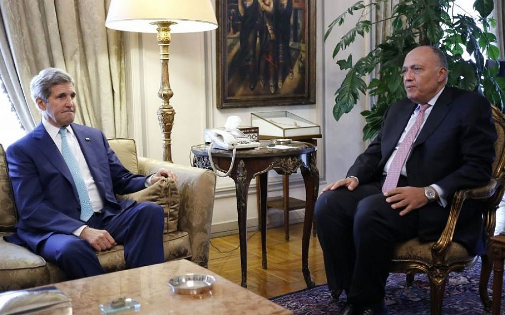 US Secretary of State John Kerry meets with Egypt's Foreign Minister Sameh Shukri in Cairo, Egypt, Tuesday, July 22, 2014. (photo credit: AP Photo/Pool)
