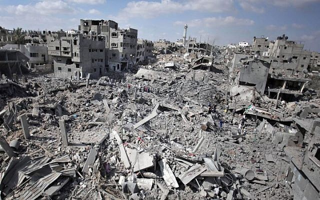 A general view shows the destruction in Gaza City's Shejaiya neighborhood, Saturday, July 26, 2014. (Photo credit: AP/Khalil Hamra)