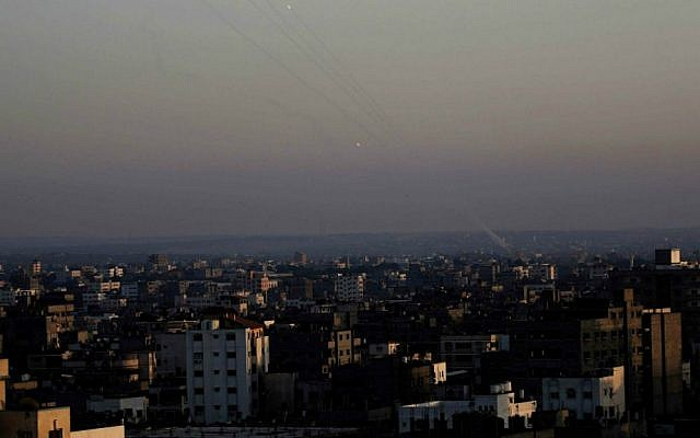 Palestinian rockets are launched from Gaza into Israel in 2014. (AP Photo/Adel Hana)