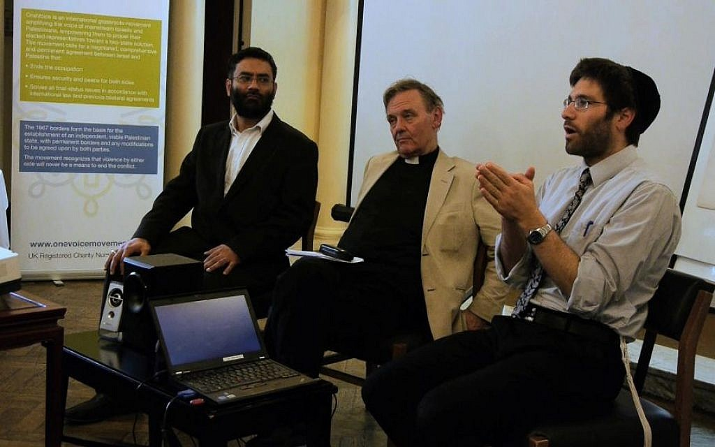 Rabbi Natan Levy (right) attends a program organized by the OneVoice movement in London in 2012, along with Muslim and Christian faith leaders. (photo credit: OneVoice Movement)