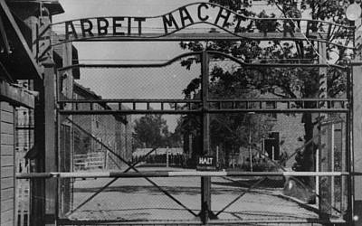 This undated file image shows the main gate of the Nazi concentration camp Auschwitz I in Poland. (photo credit: AP)