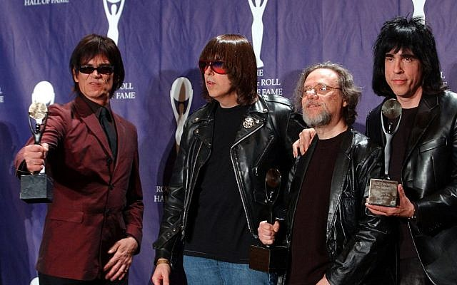 In this March 18, 2002, file photo, members of the Ramones, from left to right, Dee Dee, Johnny, Tommy and Marky Ramone hold their awards after being inducted at the Rock and Roll Hall of Fame induction ceremony at New York's Waldorf Astoria. (photo credit: AP/Ed Betz, File)