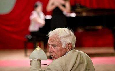 Ioan Holender, 79 years-old, turns to the audience while sitting in the jury of an opera performers competition in Bucharest, Romania, June 26, 2014.  (AP Photo/Vadim Ghirda)