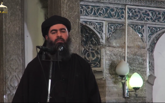 'Caliph' Abu Bakr al-Baghdadi speaks to Muslims in a mosque in Mosul, Iraq. (YouTube screen capture)