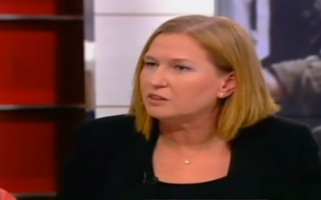 Justice Minister Tzipi Livni speaks to Channel 2. (screen capture: Channel 2)