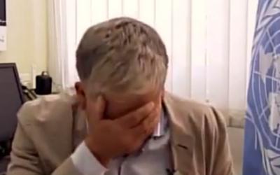 UNRWA's Chris Gunness in tears on Al Jazeera (YouTube Screen Shot)
