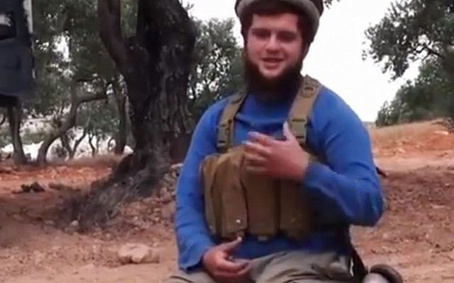 This undated frame grab from video provided by the Manara al-Bayda, the media arm of the al-Qaida-linked Nusra Front, on Friday, July 25, 2014, which has been verified and is consistent with other AP reporting, shows American suicide attacker Moner Mohammad Abu-Salha, who was known among rebels as Hurayra al-Amriki. Abu-Salha is the first American to carry out a suicide attack in Syria's civil war. (photo credit: AP/Manara al-Bayda)