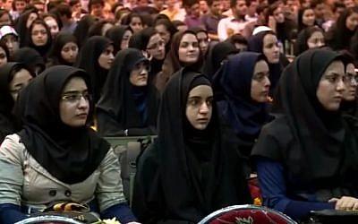 Students of Tehran's Sharif University of Technology (photo credit: YouTube screenshot)