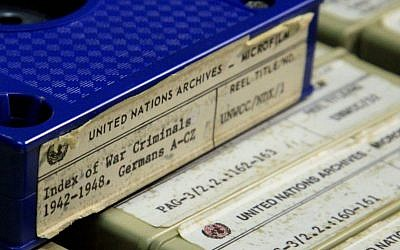 This Feb. 23, 2012, photo shows a section of the 184 reels of microfilm of transferred documents of World War II criminals, which are kept in a locked room in a building near the U.N. complex in New York. (AP Photo/Bebeto Matthews, File)