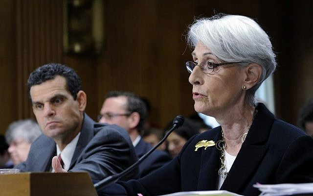 Undersecretary of State for Political Affairs Wendy Sherman, right, accompanied by Treasury Undersecretary For Terrorism And Financial Intelligence David Cohen, testifies on Capitol Hill in Washington, Tuesday, July 29, 2014, before the Senate Foreign Relations Committee hearing on Iran. (AP Photo/Susan Walsh)