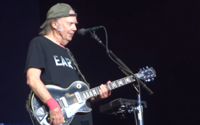 Rocker Neil Young, performing at Hyde Park in London on July 12, is a longtime activist, engaged in a number of humanitarian efforts (Courtesy YouTube screen grab)