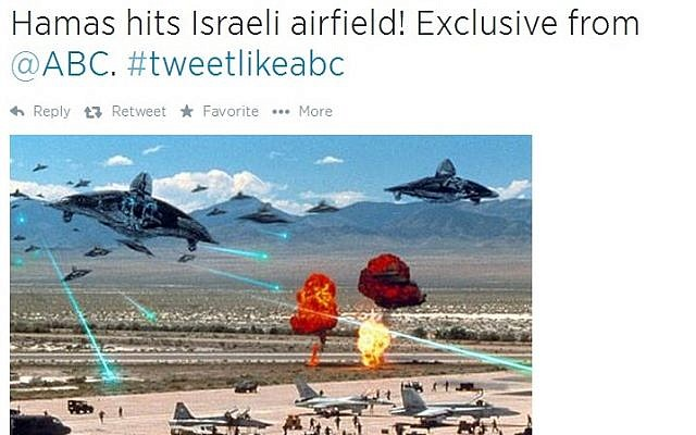 Twitter users mock Diane Sawyer for mistakenly identifying a bombed-out building in Gaza as Israel.