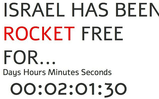 Israelhasbeenrocketfreefor.com tells viewers when the last rocket was launched at Israel. (screenshot)