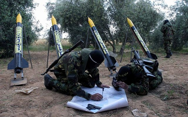 Islamic Jihad rockets, ready to fire, in northern Gaza. (Photo credit: Flash90/File)