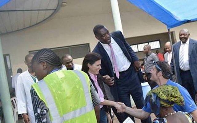Innovation Africa's founder and president Sivan Ya'ari and NBA all star Dikembe Mutombo visit Biamba Marie Mutombo Hospital in Kinshasa. (Courtesy)