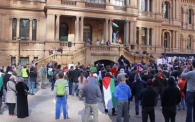 Anti-Israel rally in Sydney, Australia, July 20, 2014. (courtesy)