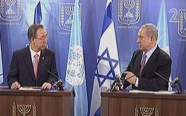 Ban Ki-moon, left, and Benjamin Netanyahu, speaking in Tel Aviv on Tuesday, July 22, 2014. (Screen capture: Channel 2)