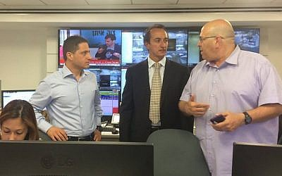 Mayor Ruvik Danilovich, Ambassador Dave Sharma and Amit Rayngold, deputy manager of the department of general administration, in a bunker in Beersheba, July 15, 2014. (Photo credit: Courtesy of the Australian embassy)