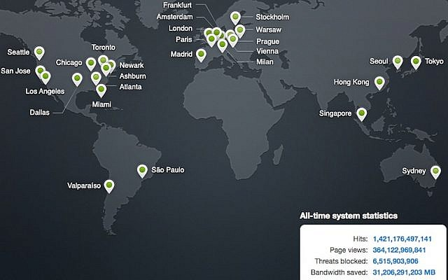 Image shows the location of CloudFlare's servers around the world (Photo credit: Screenshot)