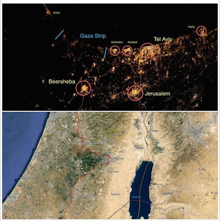 Harper compared the space image with an actual map of Israel (Screenshot)