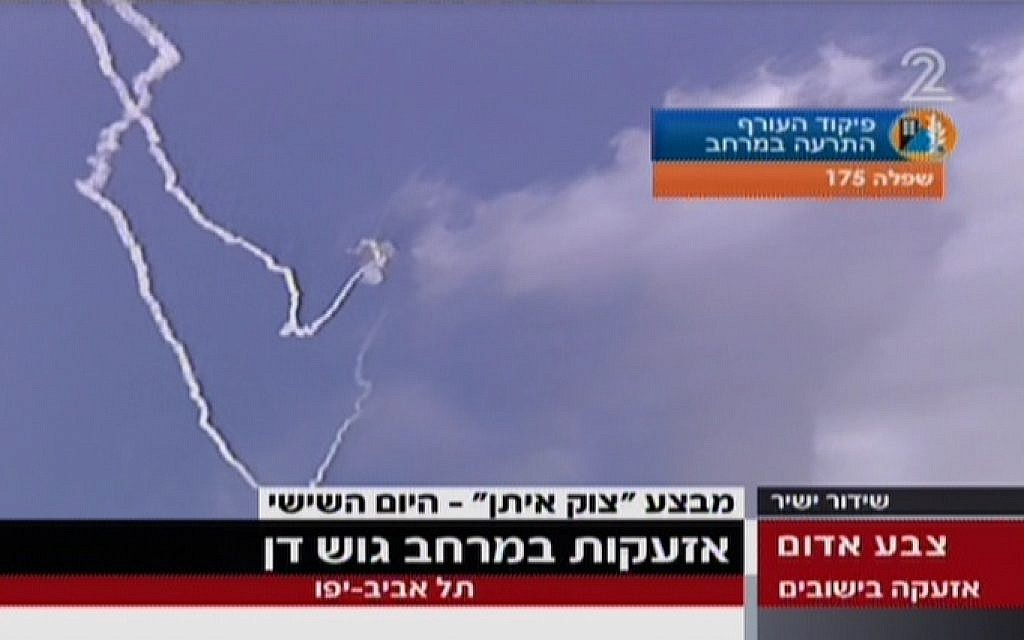 Contrails from Iron Dome intercepting a rocket near Tel Aviv on live TV on Sunday, July 13, 2014. (Screen capture: Channel 2)