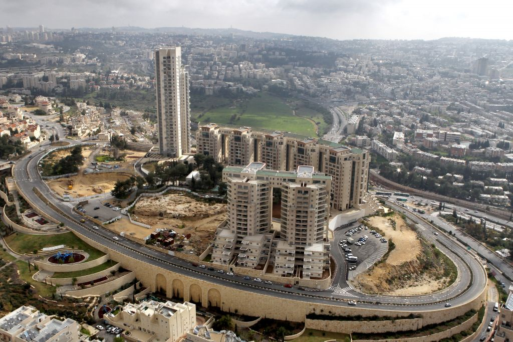 A bird's eye view of the Holyland complex, one of the first of Jerusalem's high-rise projects (Nati Shochat/Flash 90)