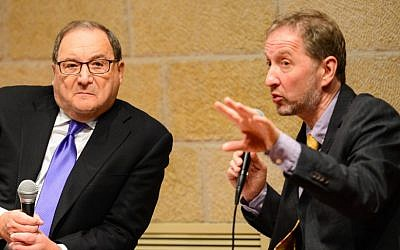 Abe Foxman left, and David Horovitz at the Jewish Media Summit in Jerusalem, June 23 (photo credit: Henry Benjamin)