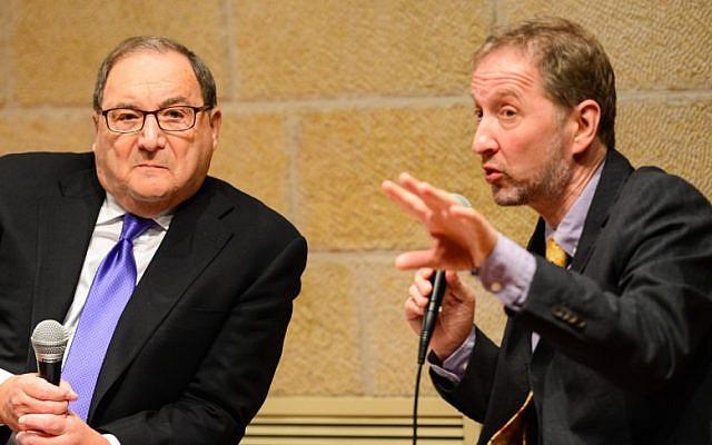 Abe Foxman left, and David Horovitz at the Jewish Media Summit in Jerusalem, June 23 (photo credit: Henry Benjamin)