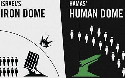 This graphic posted on the Israeli Defense Forces website, dated July 20, 2014, shows an artist's attempt to spread a message that Hamas fighters are hiding behind their civilian population (photo credit: AP/IDF website)