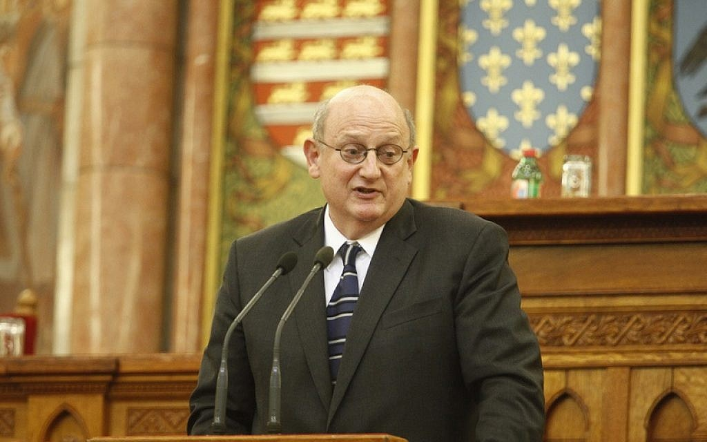 Ira Forman, then-US State Department's special envoy to monitor and combat anti-Semitism, speaking at the Hungarian parliament in Budapest, October 2013. (Tom Lantos Institute/via JTA)