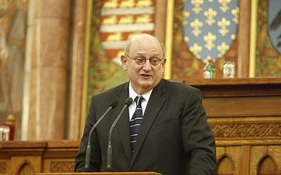 Ira Forman, the US State Department's special envoy to monitor and combat anti-Semitism, speaking at the Hungarian parliament in Budapest, October 2013. (Tom Lantos Institute/ JTA)