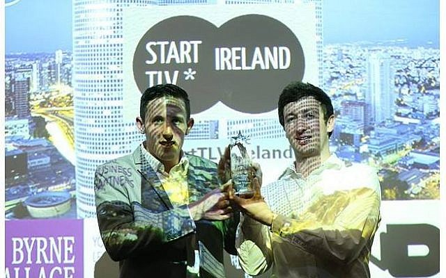 Two Irish entrepreneurs make a pitch at an event held last week in Dublin by the Ireland-Israel Business Network (Photo credit Courtesy)